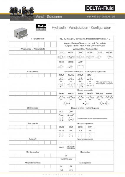 Ventilstation NG10 Aluminium incl. Meßstellen
