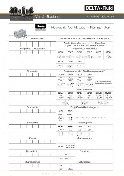 Ventilstation NG06 Aluminium incl. Meßstellen