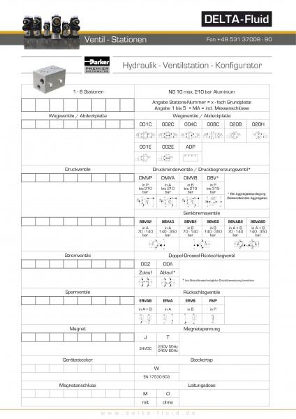 Ventilstation NG10 Aluminium ohne Meßstellen